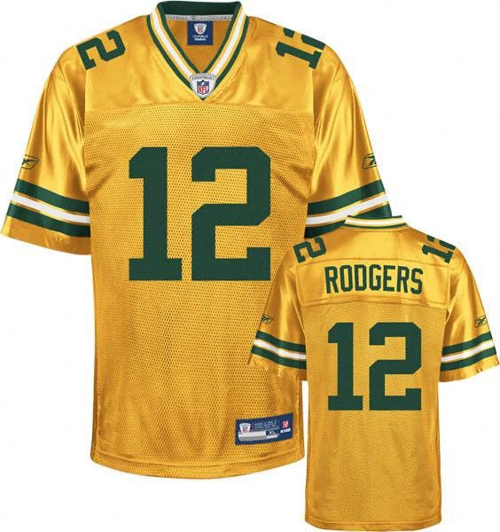 pretty nice 3bd4f d3b52 Reebok Green Bay Packers Aaron Rodgers 12 Yellow Authentic ...