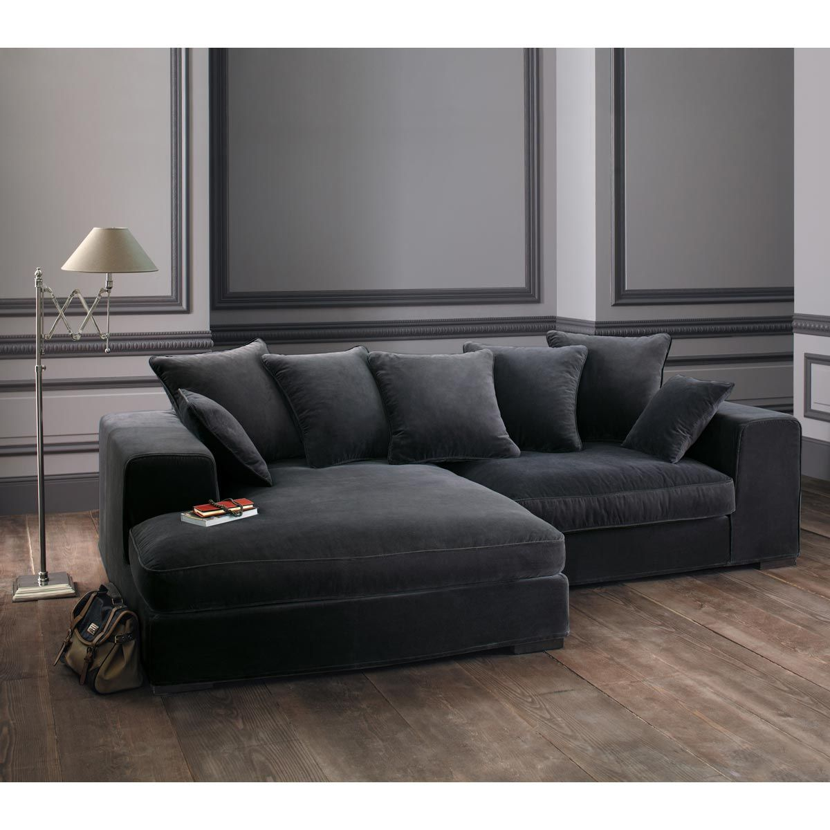 canap d 39 angle 4 places en velours gris bruges fixe et. Black Bedroom Furniture Sets. Home Design Ideas