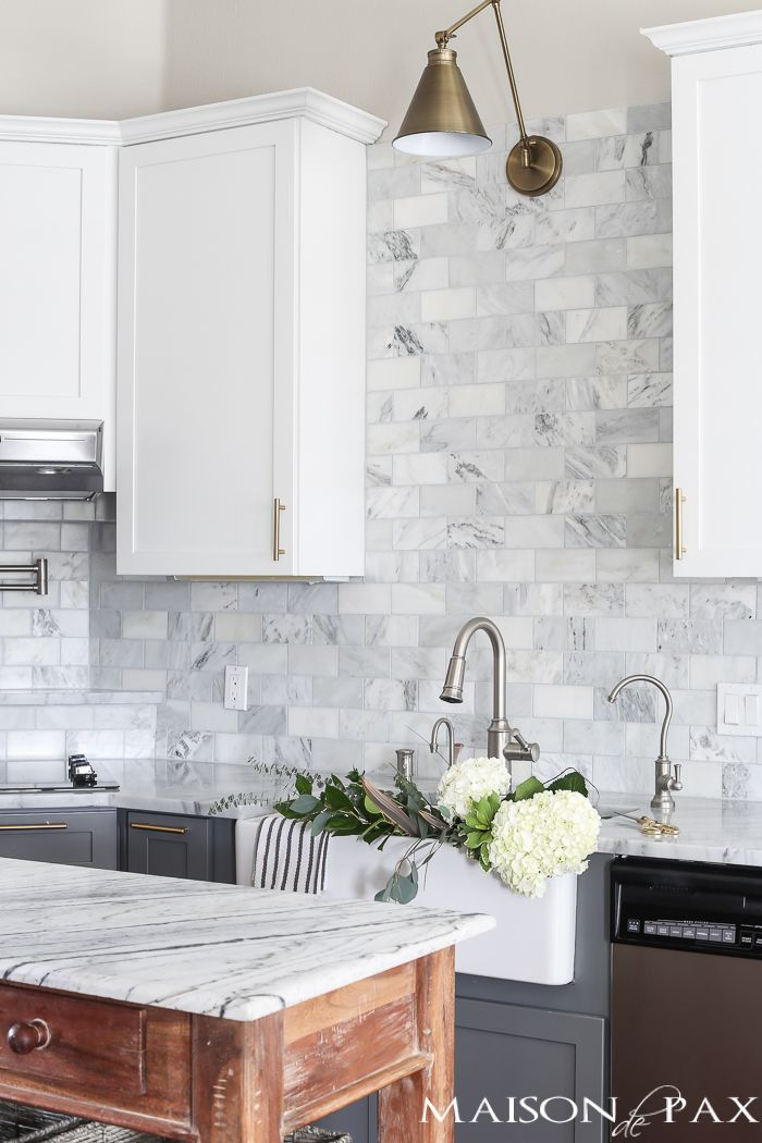 Best Gray And White And Marble Kitchen Reveal Kitchen Remodel 640 x 480