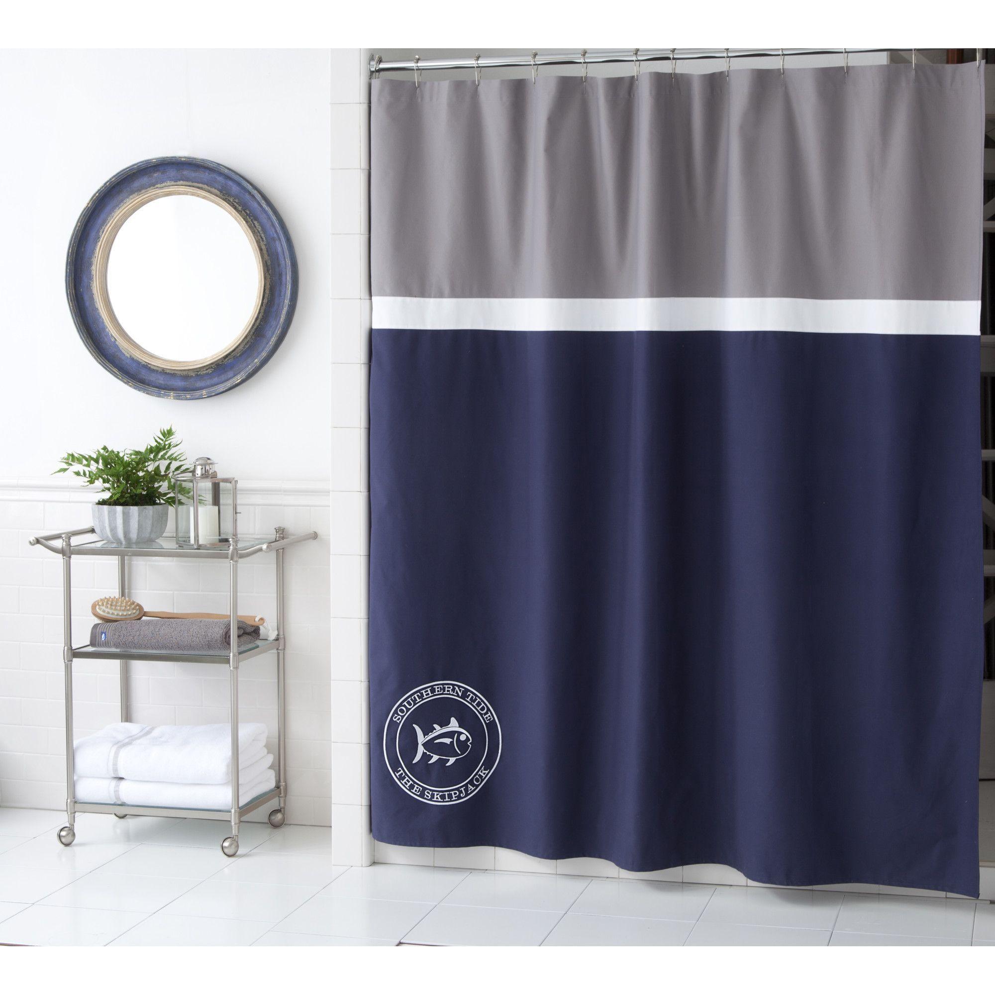 Starboard Cotton Shower Curtain Blue Shower Curtains Navy Blue