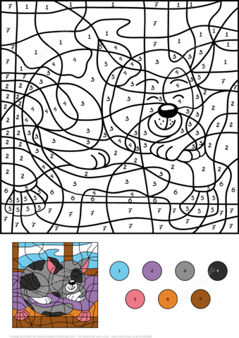 Sleepy Cat Color By Number Coloring Page From Color By Number Worksheets Category Select From 24652 Printable C Coloring Books Coloring Pages Color By Numbers