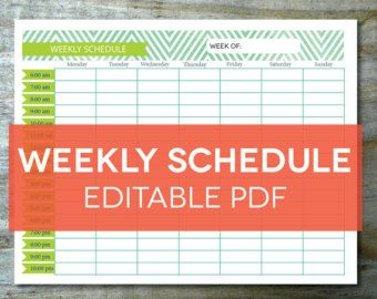 Weekly Schedule Printable Editable Chevron Theme Hourly Daily