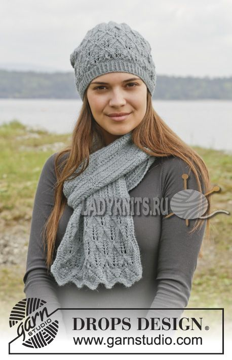 ажурная шапка и шарф спицами | Вязаные женские шапки, береты ...