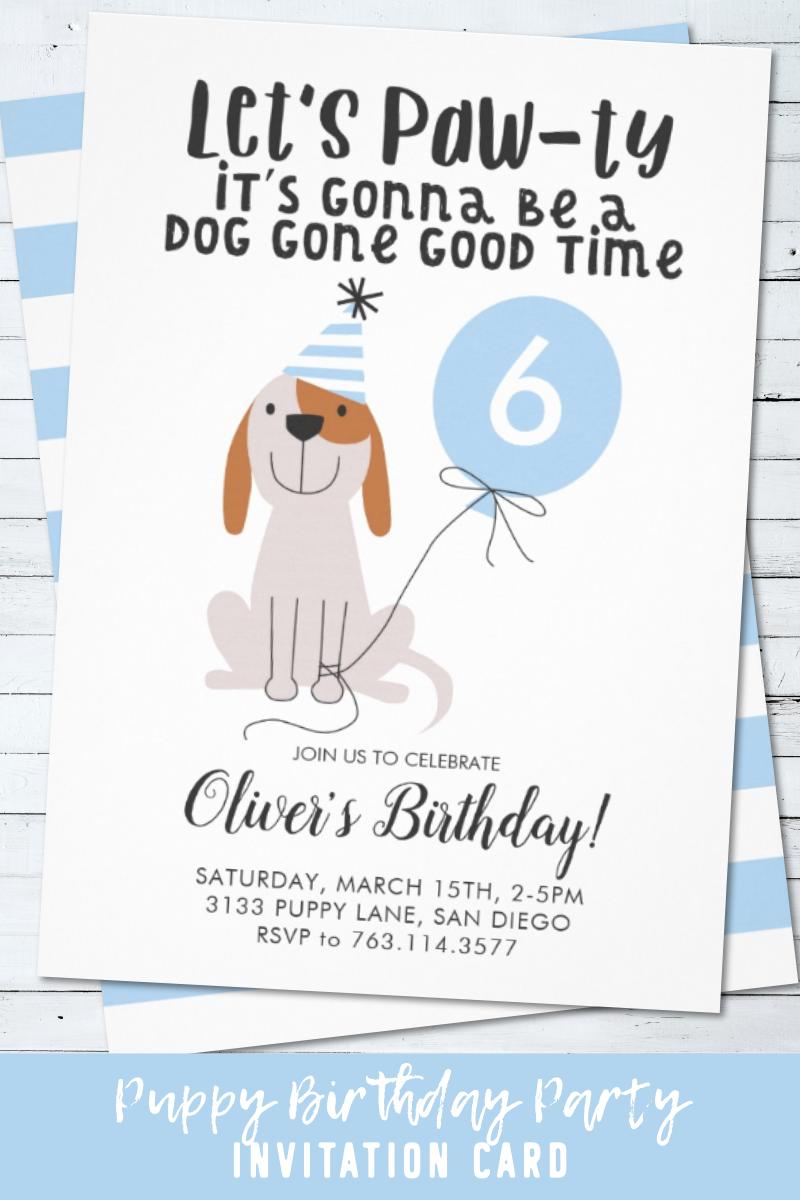 Puppy Dog Lets Pawty Birthday Party Boy Invitation Zazzle Com In 2020 Dog Birthday Invitations Puppy Adoption Birthday Party Boy Birthday Parties