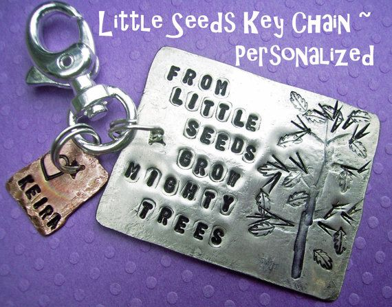 Little Seeds Key Chain, modern rustic silver & copper, hammered and forged, HandStamped and personalized, can be a family tree key chain as well.  by deborahmcgovern jewelry on etsy, $24.50