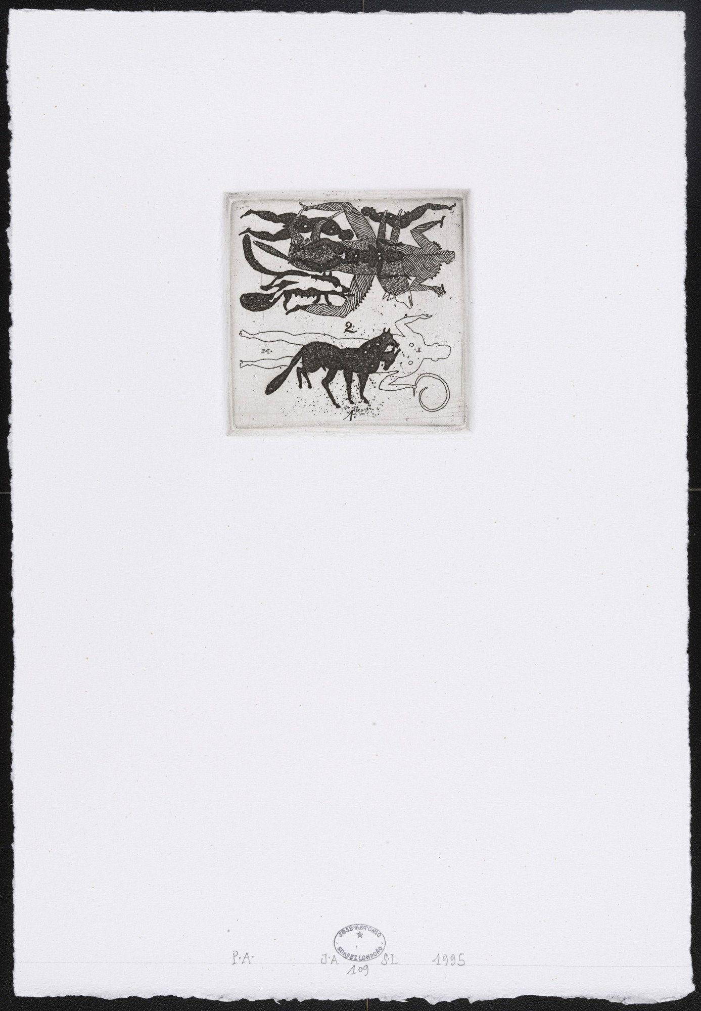 José Antonio Suárez Londoño. Untitled #109. 1995. Etching. plate: 2 11/16 x 2…