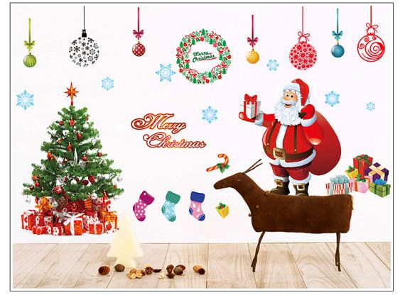 Christmas Wall Decal Santa And Christmas Tree Ez Wall Decor Peel Stick On The Wall Or Wind Christmas Wall Decor Christmas Wall Decal Christmas Wall Stickers