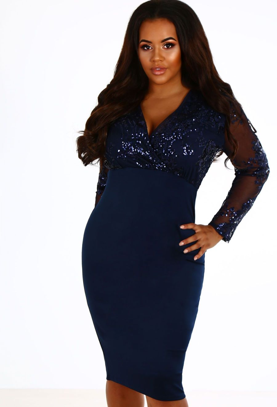 Curve freya navy sequin long sleeve wrap midi dress midi dresses