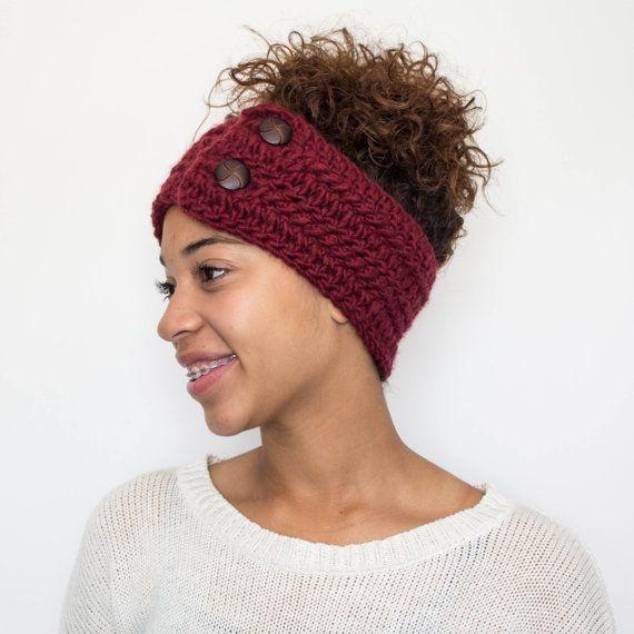 Burgandy Hand Crocheted Headband Crochet Ear by TagMeTrendy 201776fd18cc