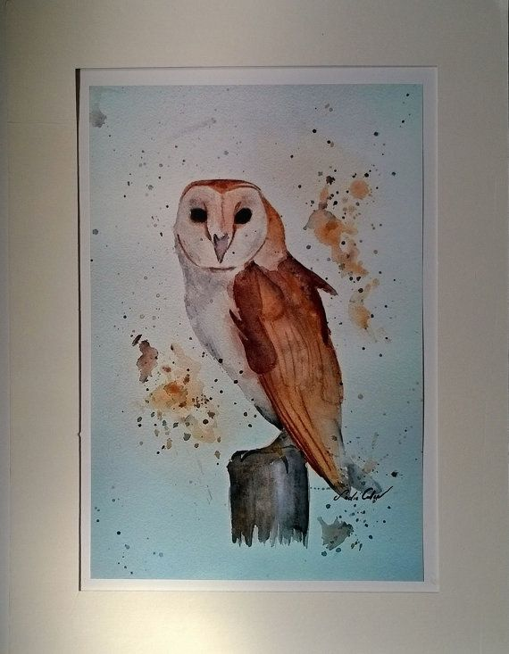Barn owl watercolour painting art prints by Sadiecullenart on Etsy