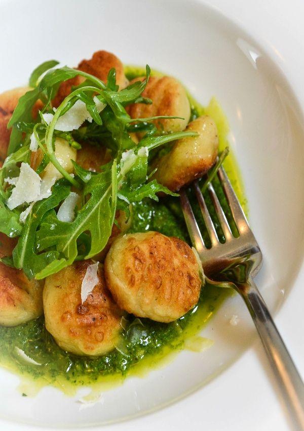 Gnocchi Piedmontaise with Rocket and Walnut Pesto  www.karongrieve.com