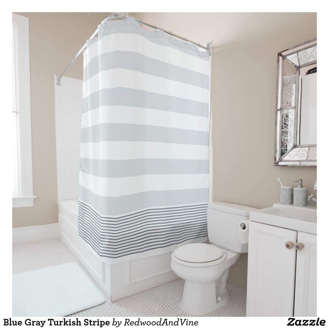 Blue Gray Turkish Stripe Shower Curtain Zazzle Com Striped Shower Curtains Patterned Shower Curtain Curtains To Match Grey Walls
