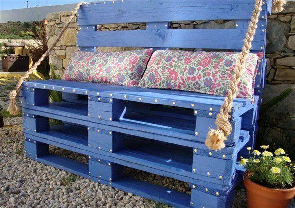 bank-aus-paletten-blaue-farbe.jpg (600×424) | Garten | Pinterest ...