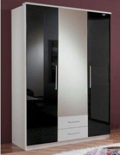 Armoire Chambre 3 Portes Et 2 Tiroirs Blanc Et Laque Noir Emeline Armoire Chambre Mobilier Design Design