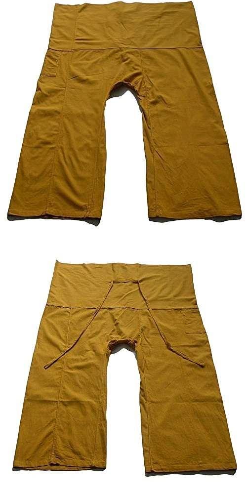 Khaki Yoga Pants Thai Fisherman Trousers Cotton Drill Free Size