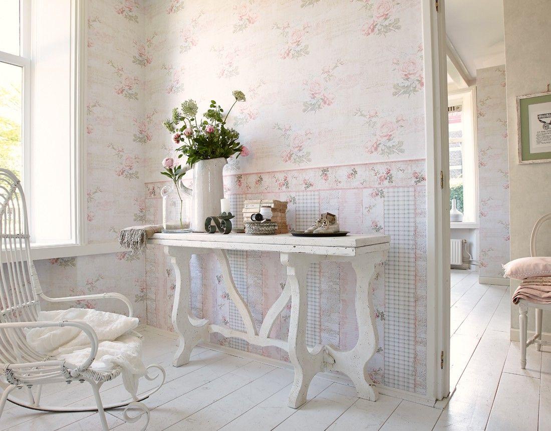 tapete landhaus blumen creme rosa grün djooz 95667-1 | haus, Innenarchitektur ideen