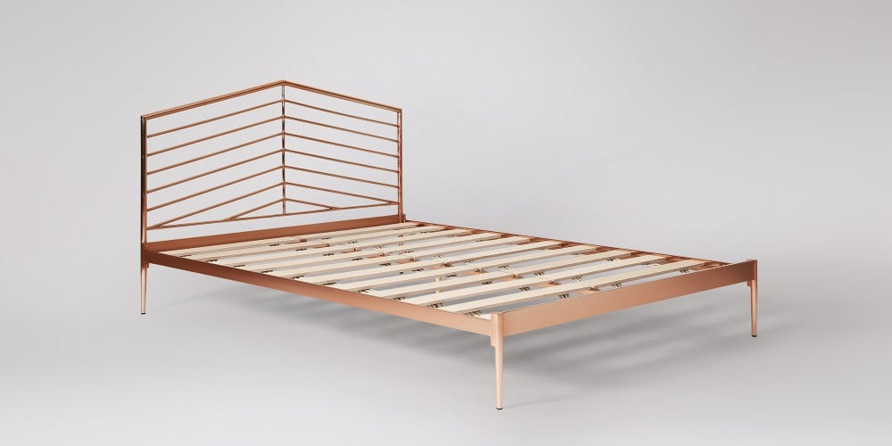 Beauden Art Deco style Shiny Copper King Size Bed Frame