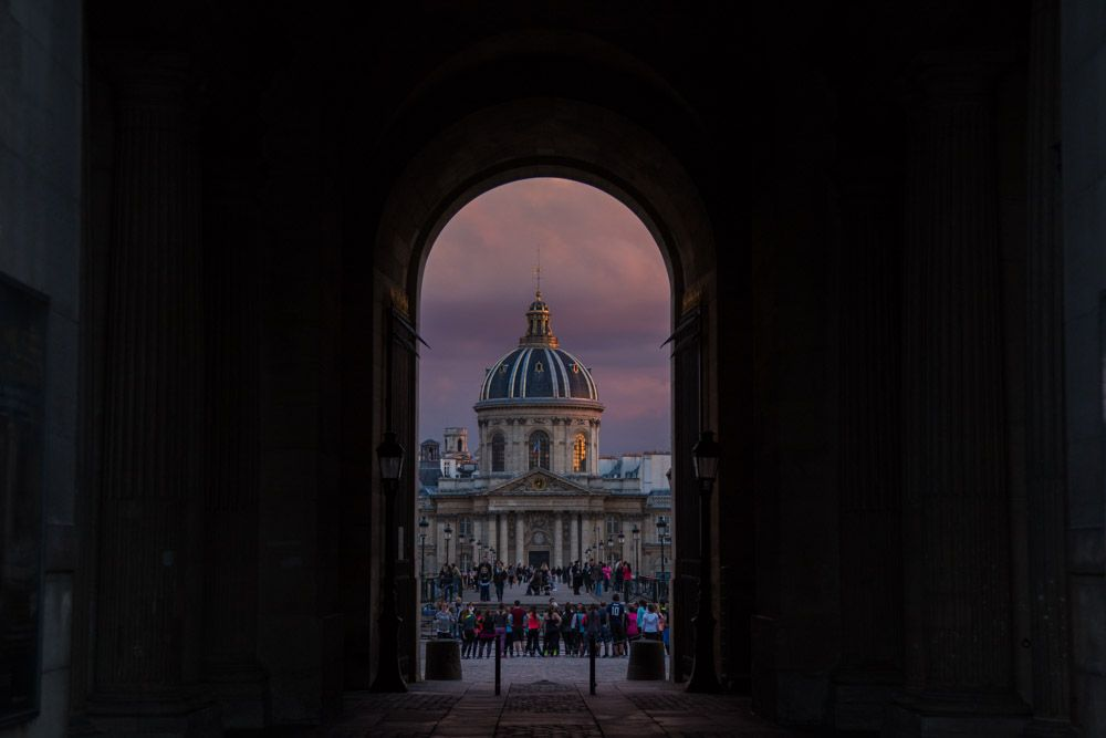 L'Europe 2016! Part I: Paris - Emma Mullins Photography. Institut de France as seen from the Louvre at sunset. Spring 2016 Europe