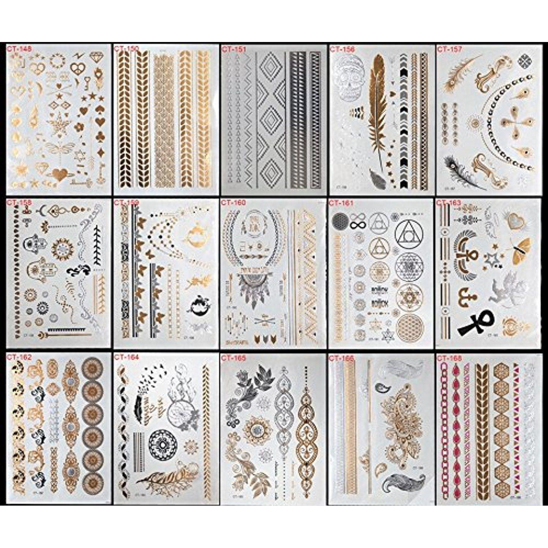 15 Sheets Boho Mandala Mehndi Tribal Floral Temporary Tattoos Body Art Metallic Body Stickers 3d Body Glam Gold Jewelry Tattoos Jewelry Tattoo Tattoo Stickers