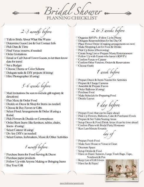 Bridal Shower Planning Checklist Printable Wedding
