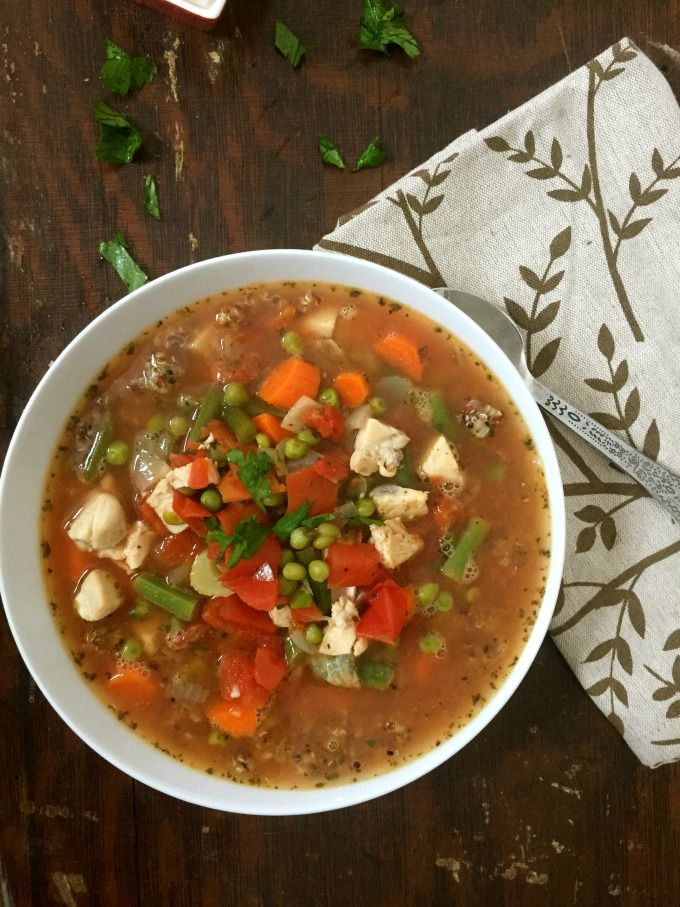 Chicken Quinoa Soup; a hearty, nutritious soup of quinoa, chicken, vegetables and diced tomatoes.