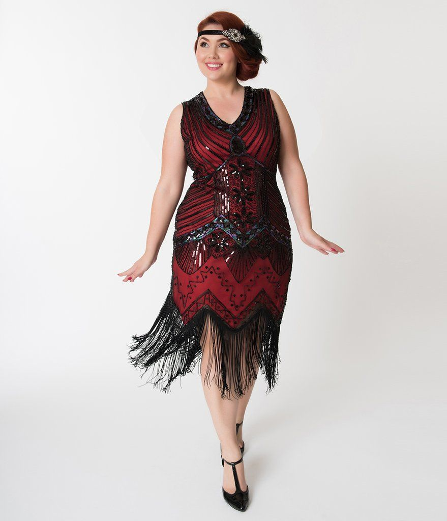 Unique Vintage Plus Size 1920s Deco Red & Black Veronique ...