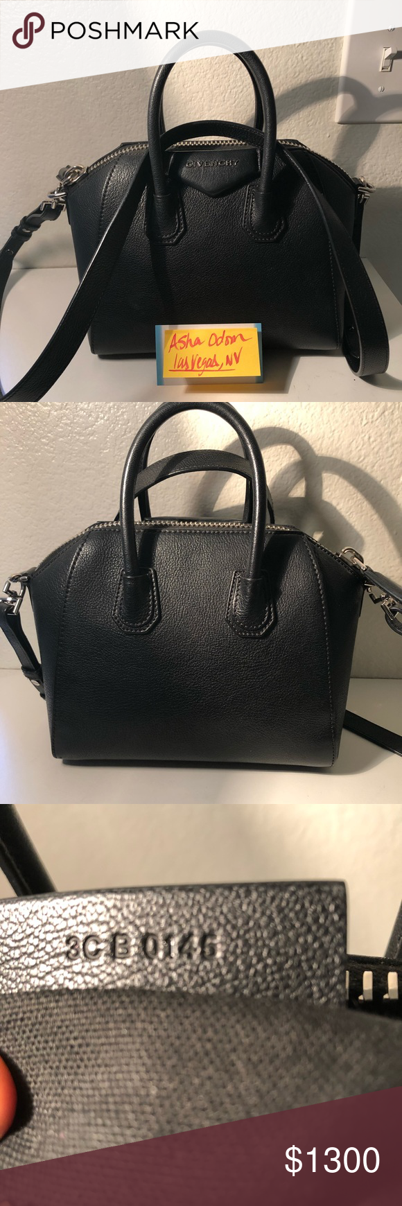 Givenchy Mini Antigona Black pebbled leather Pre loved Still has Leather  smell Authentic Comes with dust bag Receipt available Has a few scratches  NO TRADES ... f176d94bbd1f2