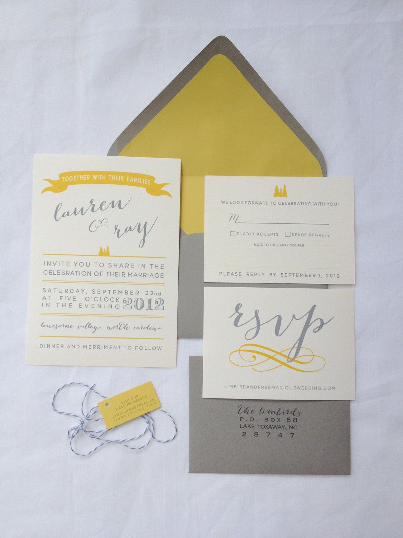 Grey and Yellow Wedding Invitation Suite. $5.00, via Etsy. | Wedding ...