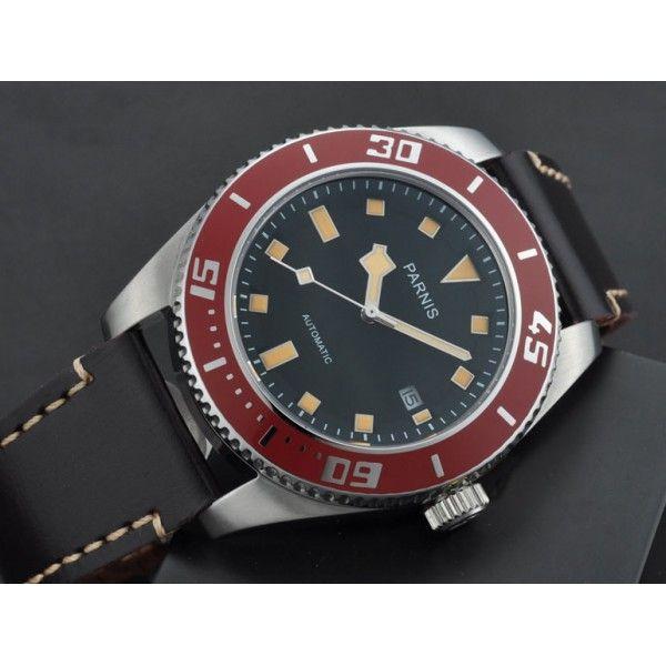 c3e62c1bd2b Parnis 43mm red bezel black dial sapphire glass miyota Automatic mens Watch  10ATM