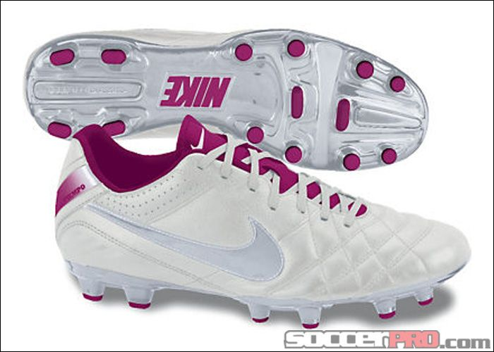 Nike Womens Tiempo Natural IV FG - Leather - Summit White with Fireberry.