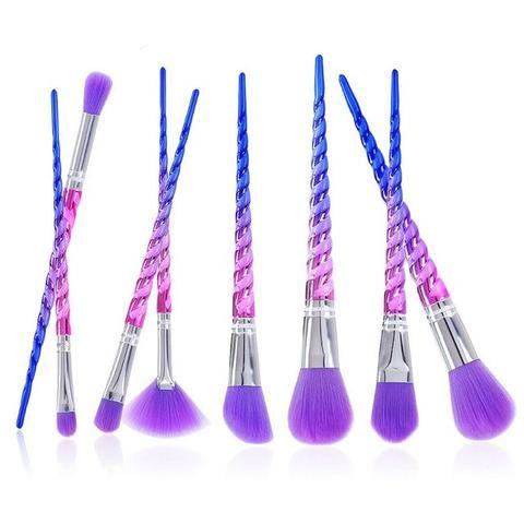 unicorn multicolor rose gold professional makeup brushes