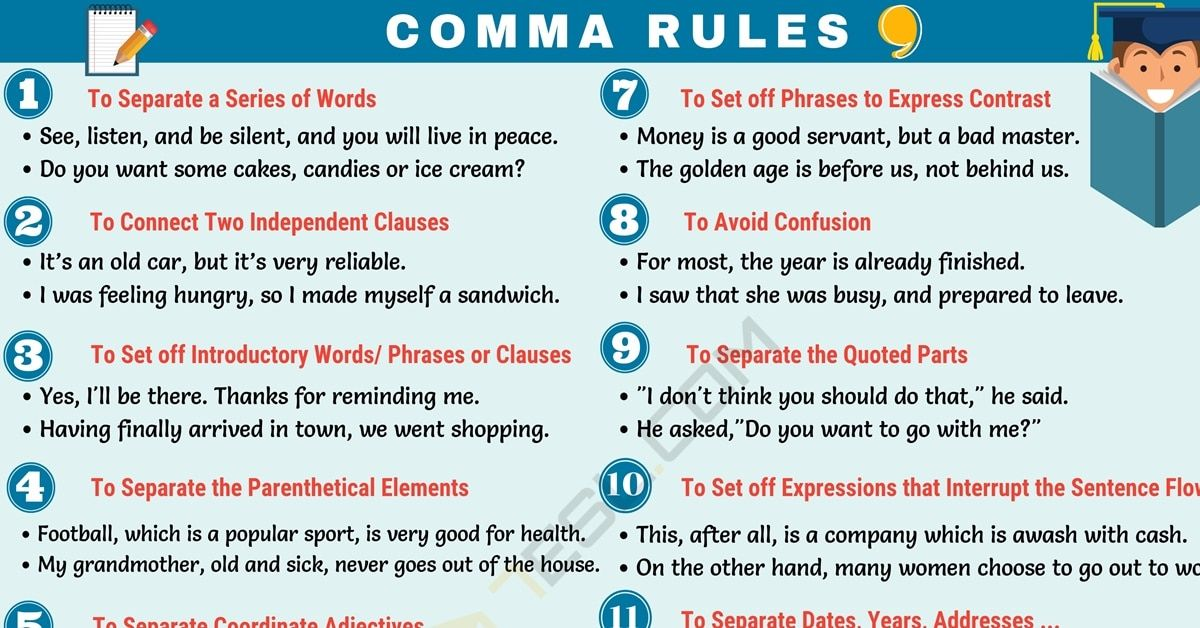 Comma rules when to use commas in english comma
