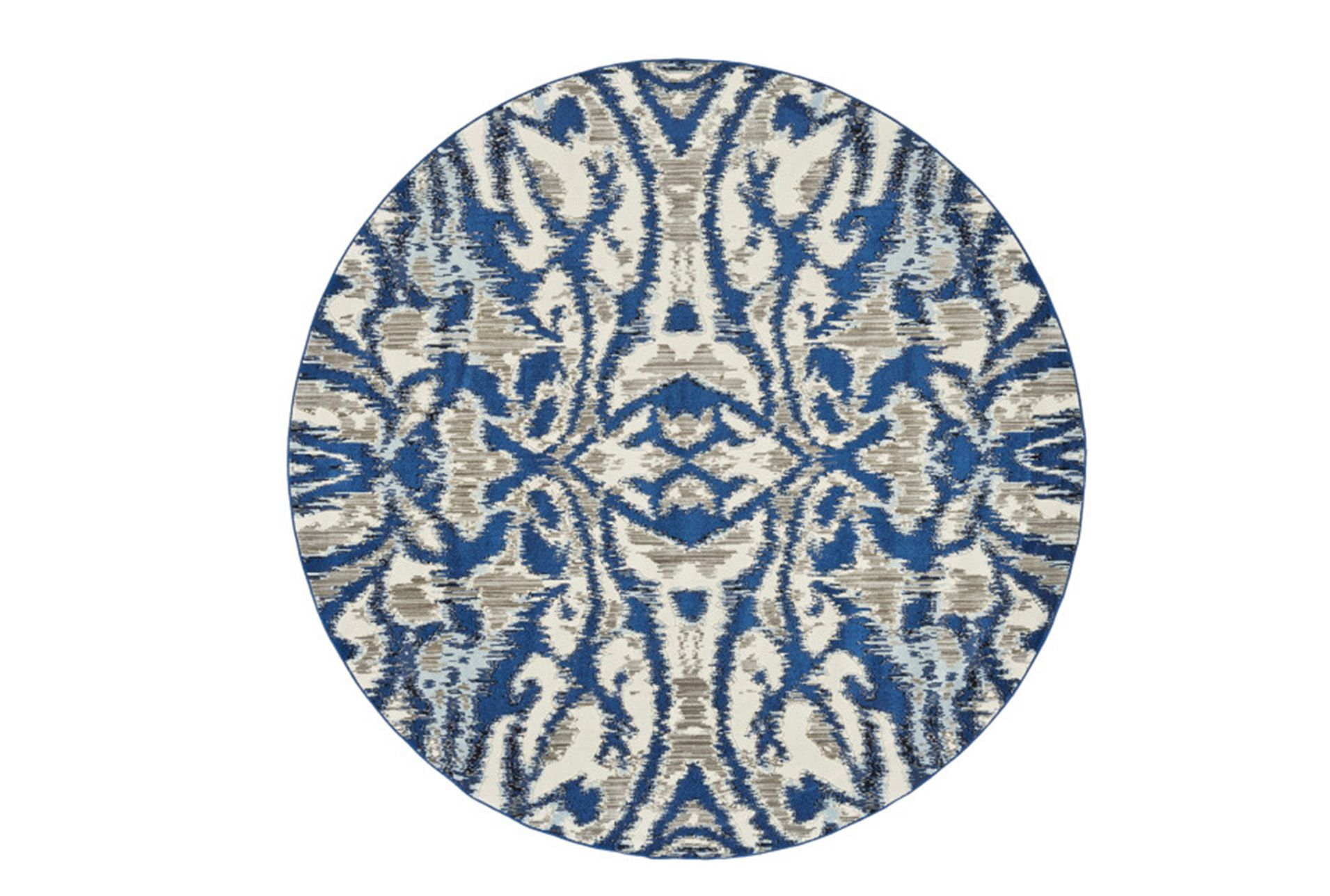 Round Rug Royal Blue Kaleidoscope Damask 495 Round Rugs Rugs Damask