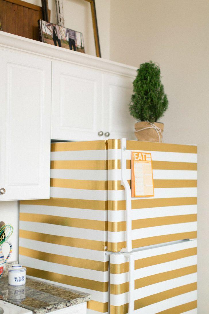 DIY Gold Tape Striped Fridge