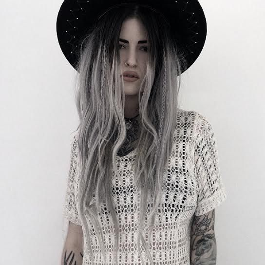 Black To White Ombre Hair Tumblr Grey Hat Tattoos