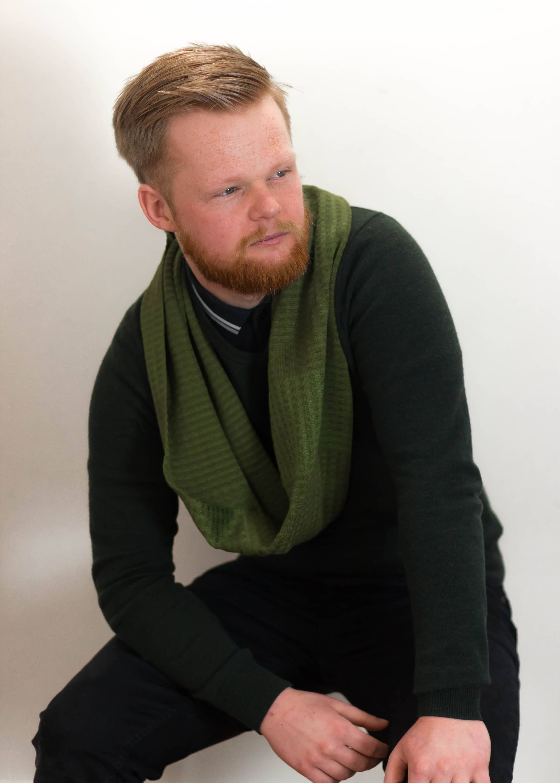 wool knit women mens womens s men chunky handmade infinity black scarf p