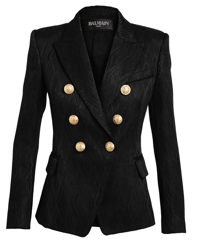 13d2e2c9 Balmain Woven Double Breasted Tailored Blazer with Gold Tone Embossed  Buttons