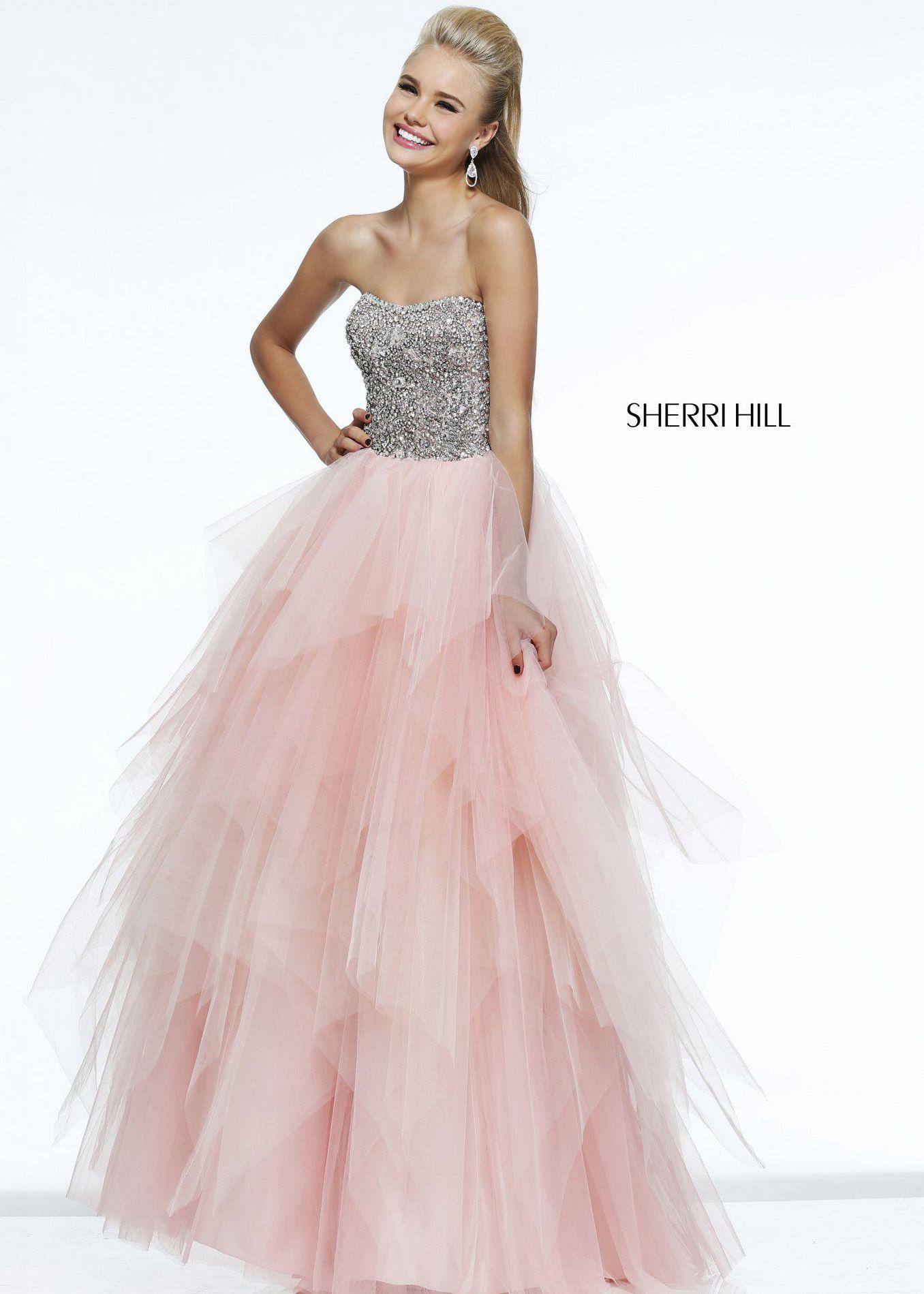 e1a60ef9df6c5 Sherri Hill 11085 - Blush Strapless Beaded Ball Gown Prom Dresses Online