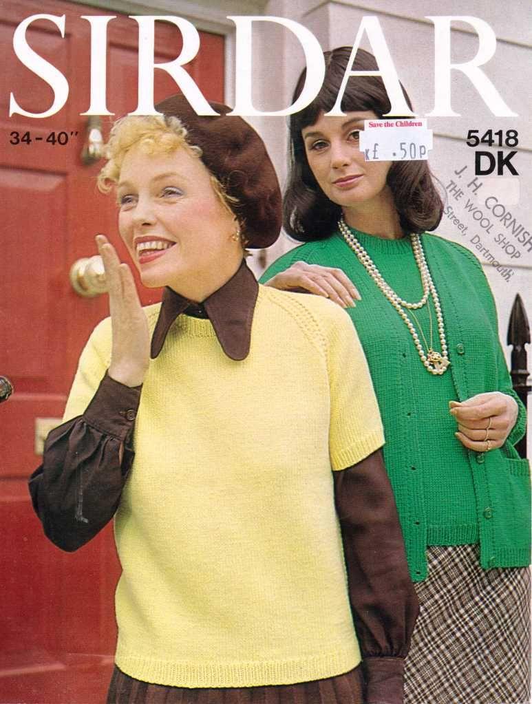 Sidar 5418 ladies jumper free knitting pattern | vintage knit ...