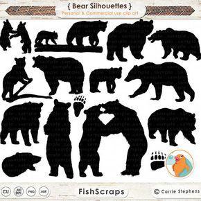 Bear Clip Art Bear Silhouette Images Digital Stamp Animal Etsy In 2021 Bear Paw Print Bear Silhouette Bear Clipart