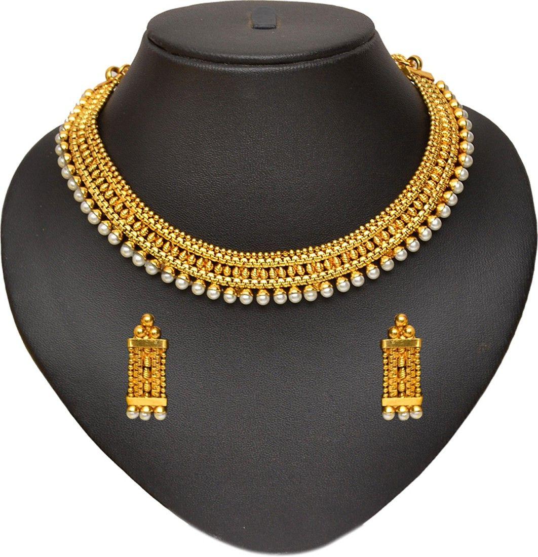 dd88348f3 Pourni Pearl Necklace Brass Jewel Set Price in India - Buy Pourni Pearl  Necklace Brass Jewel