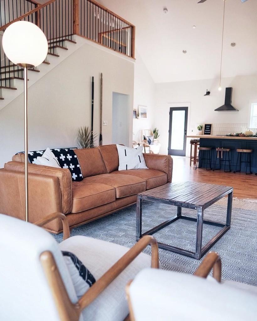 Fantastic Tan Leather Sofa In Honey Oak Wood 3 Seat Article Timber Machost Co Dining Chair Design Ideas Machostcouk