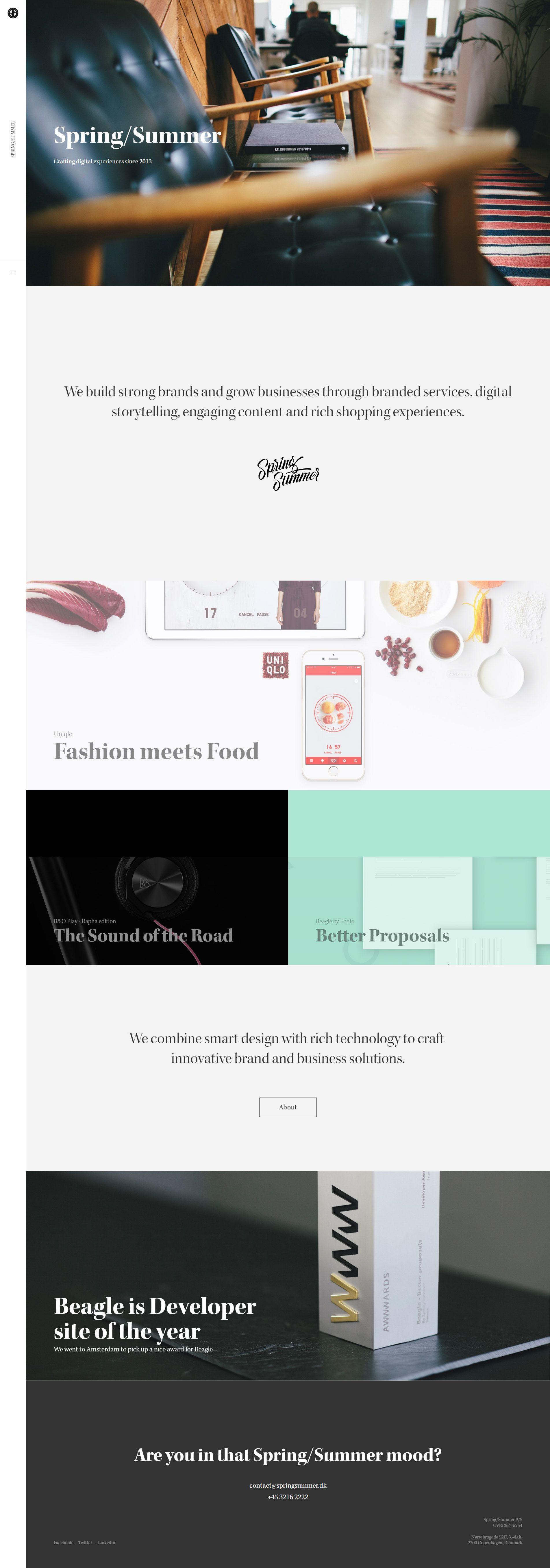 Spring Summer Design Agency Website Http Springsummer Dk Agency Website Design Web Design Awards Proposal Design