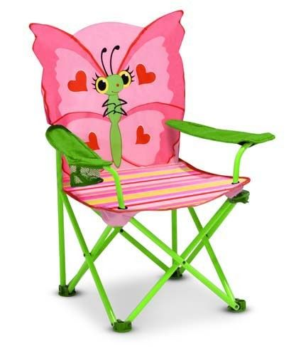"""[""""Your child will be \""""sitting pretty\"""" with Bella in this delightful folding chair with its brightly striped and sturdy metal frame. It also has a handy cup holder positioned at your child's fingertips!  Recommended for ages 3 and up.  Dimensions: 25\"""" x 13\"""" x 12.75""""] $19.99"""