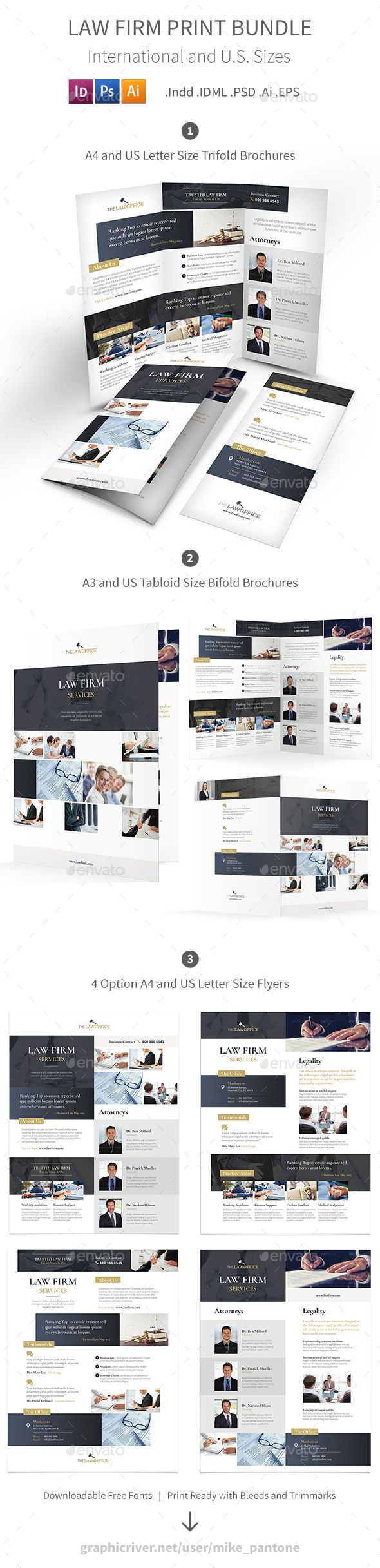 Law Firm Print Bundle — Photoshop PSD #office #trifold • Download ...