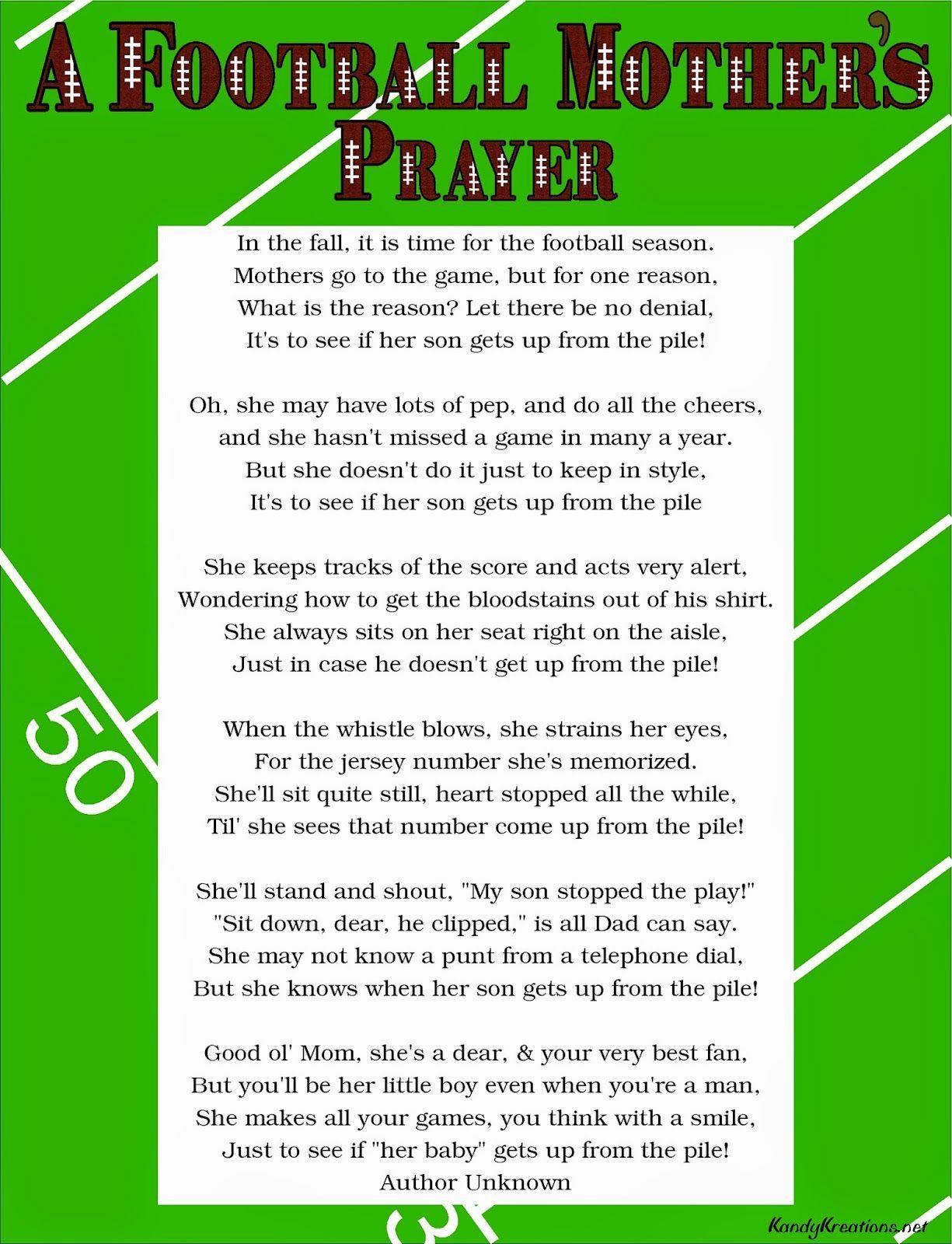 A football motherus prayer poem free printable