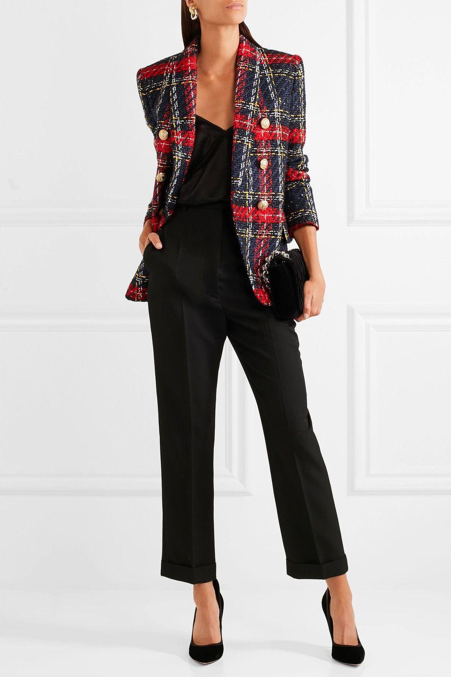 9f58b67eec31 BALMAIN Tartan tweed blazer