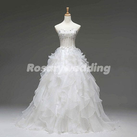 Attactive sweetheart beading ball gown multilayer organza wedding dress via Etsy