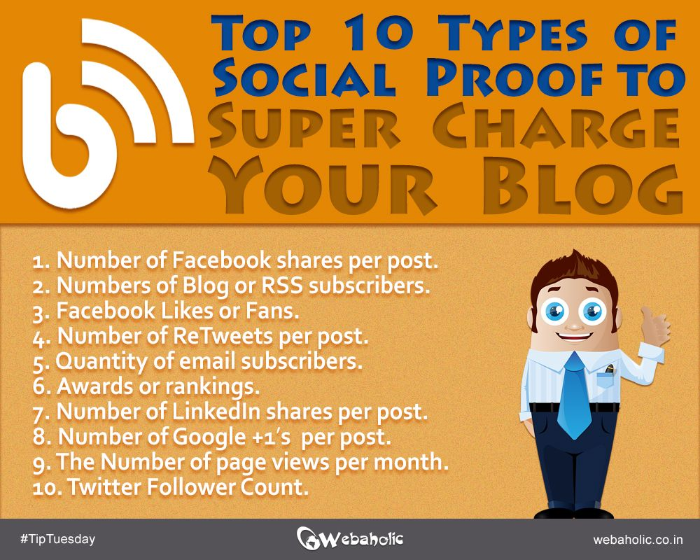 There is no debate that social proof matters. It can make people share or comment on blog post.  Here are 10 types of social proof you incorporate into your blog. #TipTuesday