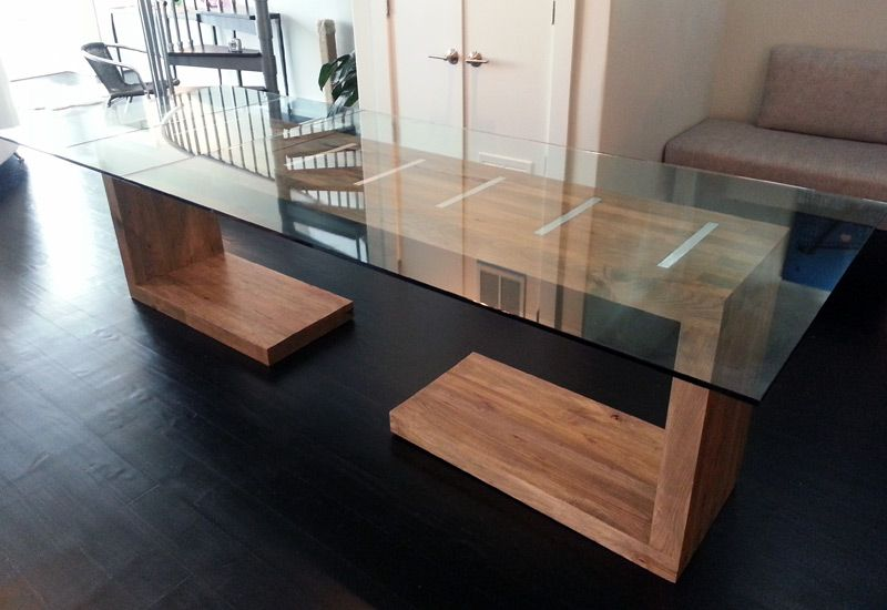 Glass Top Dining And Side Table Ajc Woodworking Modern Glass